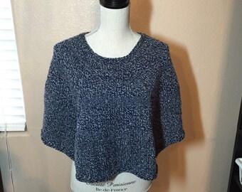Denim Blue Poncho, Hand Knit in Chunky Yarn