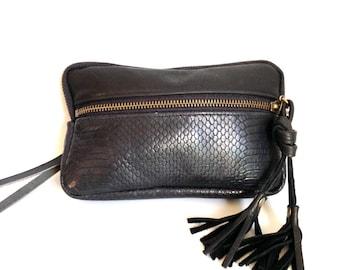 Leather wristlet wallet in black lizard embossed cow hide // antique brass hardware