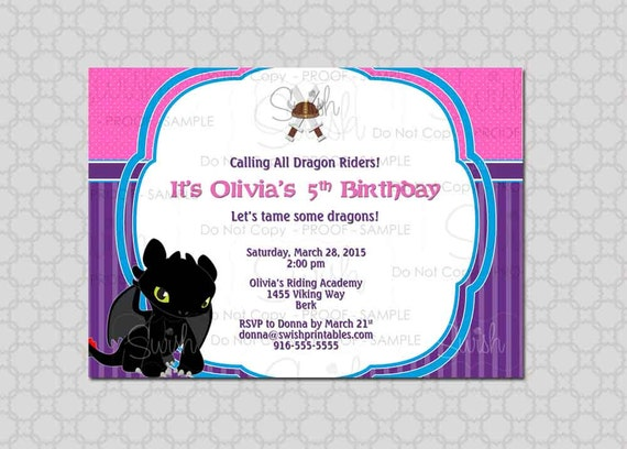How to Train Your Dragon Birthday Invitation for Girls Digital – Dragon Birthday Invitations