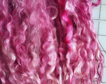 Wool locks sale buy 3 get 1 free Peony separate curls hand-dyed 1 oz.