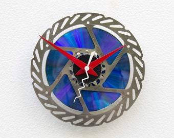 Clock made from a recycled Bike brake Disk