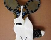Cardigan Welsh Corgi Merle Pin Artist Hand-Made OOAK Brooch Dog Art Jewelry A1