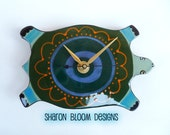 Ceramic Handmade Turtle Clock Small Size by Sharon Bloom
