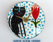 Ceramic Handmade Black Cat Kitty with Tulip Round Clock by Sharon Bloom Designs