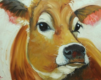 Cow painting 1014 18x24 inch animal original oil painting by Roz