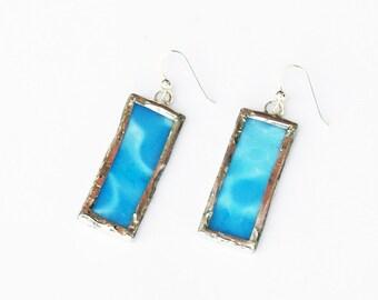 EARRINGS - Stained Glass Earrings - Blue Glass Earrings