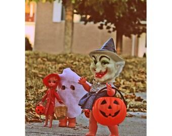 halloween print doll witch kewpie 8 x 12 Trick Or Trio