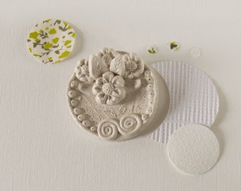ceramic wall art - handmade sculpture - floral medallion