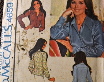 Vintage 1970s Sewing Pattern McCall's 4659 Marlo's Corner Misses' Blouses Bust 31 inches Complete