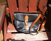 1980s vintage Cole Haan  brown and black leather saddle bag   handbag shoulder strap  bag really nice