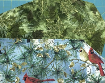 Table Runner Fall Leaves / Christmas Cardinals Chickadees Reversible
