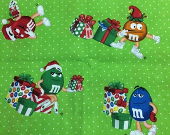 Christmas M & M Chocolate candy fabric - 1 yard - green
