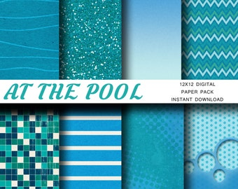 At the Pool - Digital Scrapbook Paper Backgrounds - Instant Download - Swimming, Pool, Lake, Beach