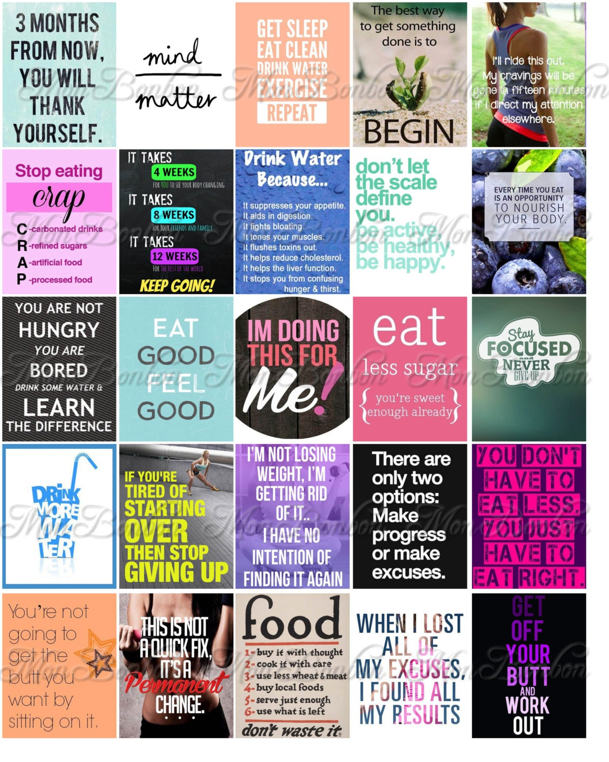 fitness and diet motivation stickers for life planners and