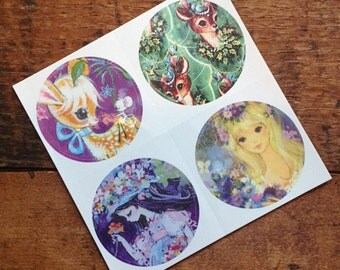 Vintage Inspired Sticker Sheet - Deer & Girls
