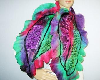 FELTED SCARF  Wool  Ruffle Green Purple  Rust Leaf Felt Neckwarmer Halloween nack scarf