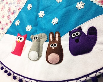 Tree Skirt, Christmas Tree Skirt, Silent Night, Teal, Purple, Snowflakes, Woodland animals, Owl, Squirrel, Rabbit, Gifts under 100