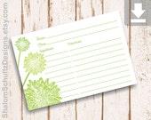 Recipe Cards, Flower, Dahlia, Garden, Bloom, Blossom, Green, Grass, Spring, Leaf, Digital File, Download, Printable, Cooking, Kitchen, Food