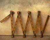 Vintage Folding Wooden Ruler / Antique Wooden Folding Ruler / Vintage Ruler / Vintage Carpenter's  Ruler / Foldable Ruler