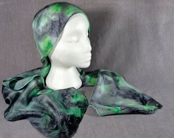Hand painted silk scarf, rectangular, in green, grey, and black