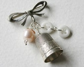 Sterling Silver Thimble Bow Charm Brooch Pearl and Glass Buttons