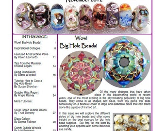 Big Hole Bead  issue - November 2012 Soda Lime Times Lampworking Magazine (PDF) - by Diane Woodall