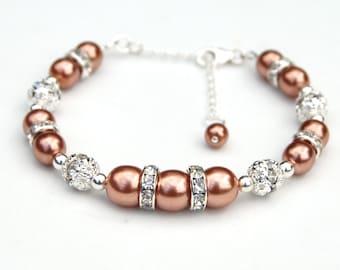 Bridesmaid Bracelet, Cinnamon Pearl Rhinestone Bridesmaid Bracelet, Fall Wedding Jewelry