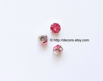 Set of 3 Rose 8mm Swarovski Round Chaton Montee Sliders SS39 2 Holes on Each Side, Sew On Rhinestones Platinum Foiling Silver Plated Setting