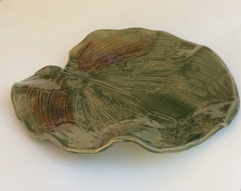 Large handmade leaf platter/ serving dish/ wedding gift/ platter/ tray/ceramic/ pottery/ decorative/ ready to ship