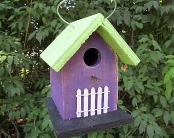 Primitive Birdhouse Chickadee Wren Cute Songbirds White Picket Fence Purple Lime Green Black