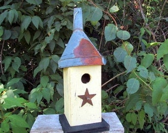 Primitive Birdhouse Unique Funnel Antique Rusty Star Butter Yellow Distressed