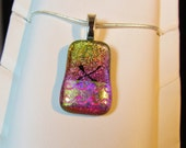 Swimmer Necklace Pendant - Dichroic Fused Glass Necklace Pendant - Pink Swirl Waves - Free Shipping