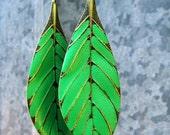Leaf earrings spring green dangle earrings bohemian jewelry