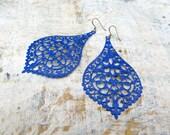 Big earrings Cobalt Blue dangle earrings Bohemian jewelry
