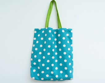 Tote bag, turquoise blue and cream, polka dot fabric, cotton bag
