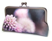 Flower clutch bag, silk purse, pink and black, bridesmaid clutch, flower petals, PINK POM POM