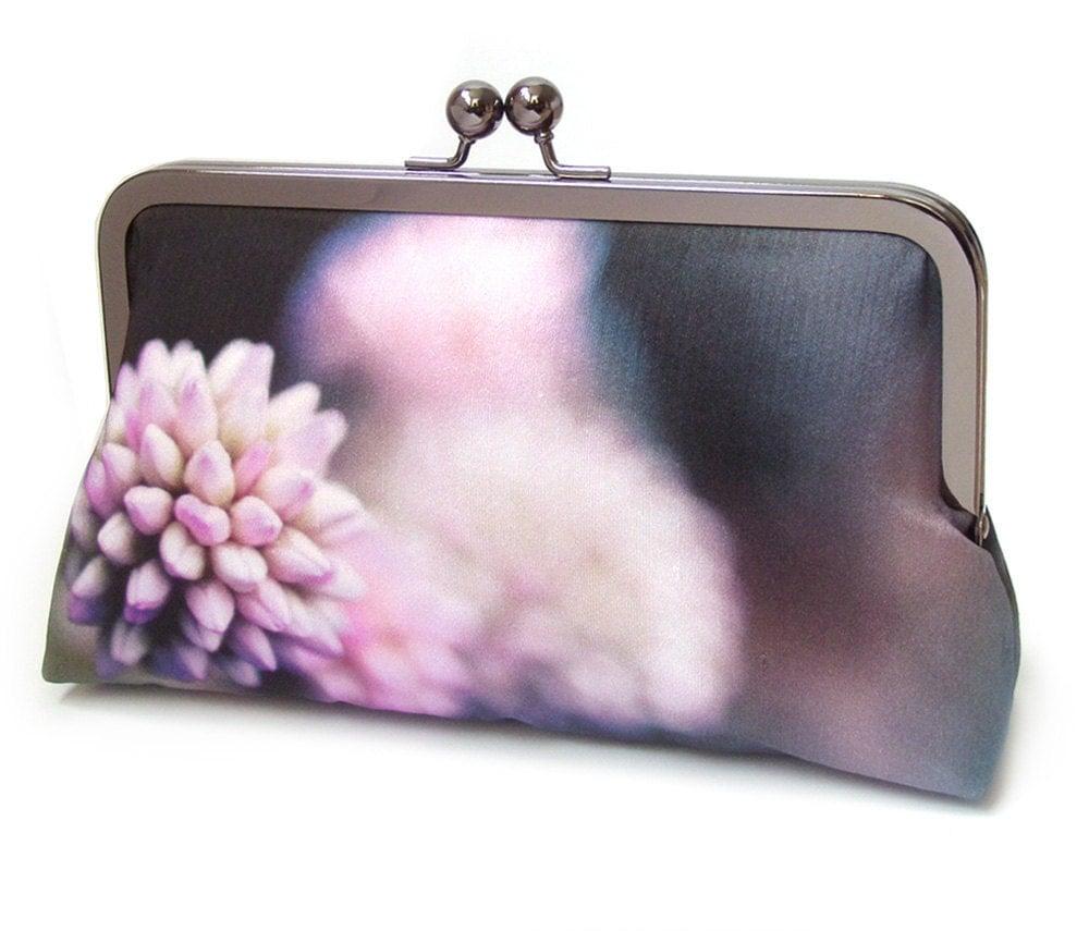 Flower Clutch Bag Silk Purse Pink And Black Bridesmaid