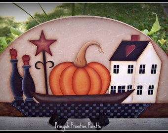 Primitive Fall Pumpkin Wood Door Crown Topper Saltbox House Star Candle Holders Home Decor