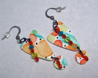 Orange and Green Wedge Earrings