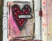 Altered mixed media handmade notebook with hand painted card and laces