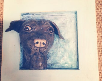 Square framed customize your dog folk art sculpture based on your dogs photo, Pet portrait, pet memorial, dog replica, memorial gift