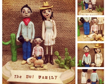 Family Portrait Customize your Family of THREE on wooden base - clay folk art sculptures as seen in Parenting Magazine