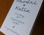 Wedding Congratulations Typographic Card - Navy-White - Personalised for you with Names & Date