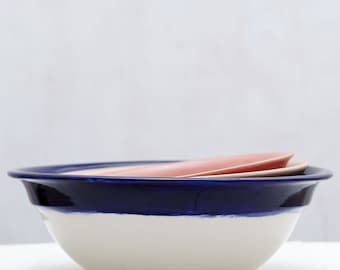 Peach, Pink, and, Navy Porcelain Nesting Bowls // Handpainted Organic Bowl Serving Bowls// Perfect for an Organic Modern Kitchen