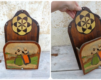 Vintage Antique 1920 French Wall letter holder / hand painted  Bretagne / folk inspiration / one of a kind