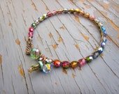 New pastel Rainbow crocheted bracelet, cute boho bracelet