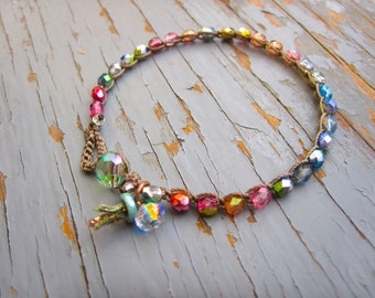 New pastel Rainbow crocheted bracelet, cute boho bracelet