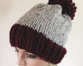 Slouchy Knit Hat Bobble Beanie Women's Hat Pom Pom Hat Chunky Hat Color Block hat - Gray with Wine - THE BRISTOL