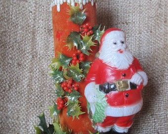 Vintage 1950's Red Flocked Christmas Candle And Santa