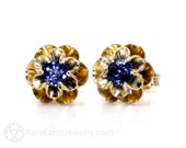 Blue Sapphire Earrings 14K Sapphire Stud Earrings Floral Buttercup Flower Posts September Birthstone